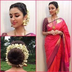 Gajra Hairstyle for Saree . Best Of Gajra Hairstyle for Saree . What A Beautiful Large Low Bun with Flowers & ornaments Care Bridal Hairstyle Indian Wedding, Bridal Hair Buns, Indian Bridal Hairstyles, Wedding Updo, Diy Wedding, Wedding Ideas, Saree Hairstyles, Low Bun Hairstyles, Hairstyles Videos