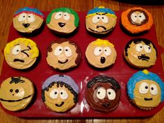 South Park cupcakes that I made for my birthday. Cartoon Cupcakes, Food Humor, South Park, Cupcake Cookies, Christmas Desserts, Creative Food, Food Art, Fun Food, Holiday Parties