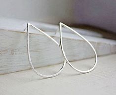 sterling silver teardrop earrings hoop large by ElisabethSpace, $36.00