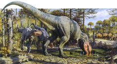 """A mother Tyrannosaurus rex, with her two Juvenile offspring in-tow, stop for a…"