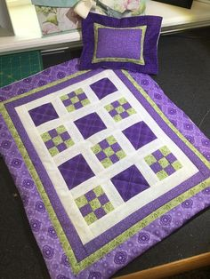 "Purple Quilted Mini 9 Patch Doll Quilt for American Girl or Any 18"" Amish Style 
