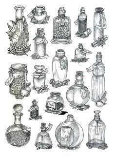 「fantasy drawing ideas magical bottle」の画像検索結果