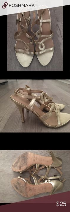09fe14d39604 Via Spiga Brushed Gold Strappy Sandals Via Spiga Gold Heels with minimal  scuffing on heels ( see photos) Via Spiga Shoes Sandals