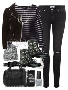 """""""Outfit with buckle boots and ripped jeans"""" by ferned on Polyvore featuring Paige Denim, MANGO, Topshop, Casetify, Yves Saint Laurent, Michael Kors, Acne Studios, Alexander Wang, Forever 21 and OPI"""