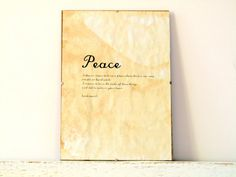 Vintage look Wall Decor Poster Sign  Peace by regularhome on Etsy, $9.00
