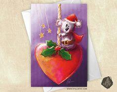 Carte de voeux Koala et Coeur Noël
