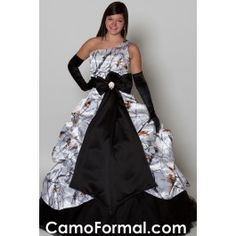 This cold shoulder camo formal has everything!  A pickup full ball gown with color options for top, skirt, and underlayer.  It can be worn as a wedding gown, ball gown, prom dress for for any other formal occasion.