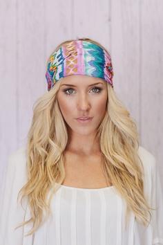 Aztec Headband Lavender Cotton Wide Head Wrap.