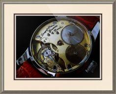 """A. Lange & Sohne Swiss Watch // Paper: enhanced matte; Glazing: acrylic; Moulding: silver, arqadia silver; Top Mat: white/cream, chantilly; Middle Mat: red, cabernet; Bottom Mat: tan, seaside // Price starts at $138 (Petite: 19.75"""" x 21.75""""). // Customize at http://www.imagekind.com/A-Lange--Sohne-Swiss-Timepiece_art?IMID=f59c96d5-ffd1-4161-90e3-0361617473b8"""