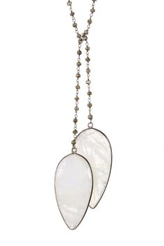 Oxidized Sterling Silver Rainbow Moonstone Endless Lariat Necklace