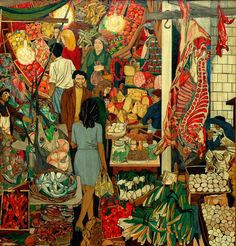 Visit Guttuso's visceral painting of a market scene (viz.Chiaramonte Steri, Palermo), and immerse yourself in the intense energy and danger that's steeped in Sicily's rich history. The 'line of passion' extends horizontally from the fish seller to the cheese man, whose knife has been painted out. Everything else depicted, with the exception of dead, red flesh hanging from butchers' hooks, is either vertical or round. A masterpiece. Guttuso provided a/w for Elizabeth David's book, 'Italian…