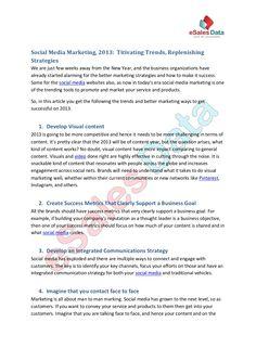 marketing-2013 by eSalesData via Slideshare