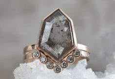 One of a Kind Natural Grey Geometric Diamond Ring – Alexis Russell