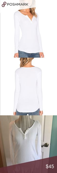 NWOT MONROW long sleeve rib white Henley size M ⭐️NWOT MONROW rib long sleeve Henley in white. Size M . Purchased from Revolve and never had a chance to wear. Nice basic piece to have in any closet! Rib knit fabric and raw cut edges. Cotton blend ⭐️ Monrow Tops Tees - Long Sleeve