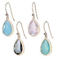Faceted Drop Simple Earrings
