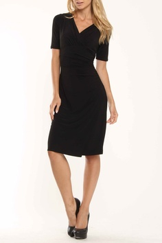 Evan Picone Jersey Side Shirred Dress In Black - Very pretty and I love the sleeve length