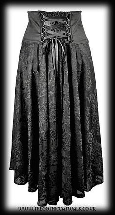 Long Black Gothic Victorian Steampunk Skirt with Corset Panel
