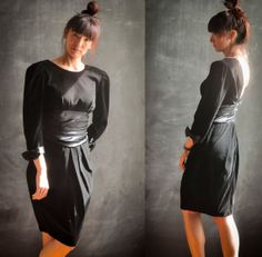 Vintage Sexy Black Velvet Party Cocktail Dress by drowsySwords, $68.00