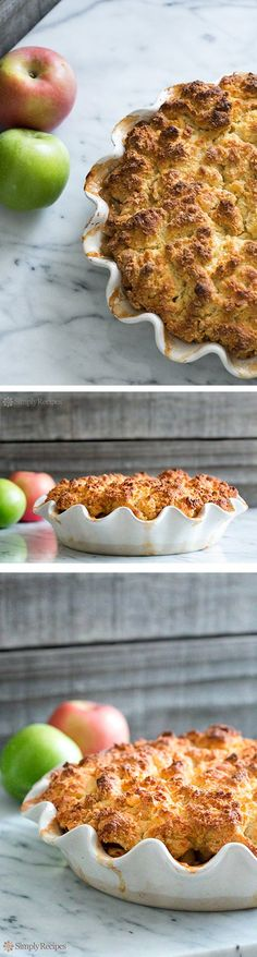 Our favorite fall dessert with apples, ginger, and biscuity topping, so much easier than a pie! On SimplyRecipes.com