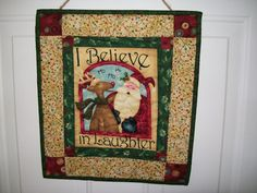 Santa wall hanging whimsical Rudolph reindeer by ExpressionQuilts, $19.00