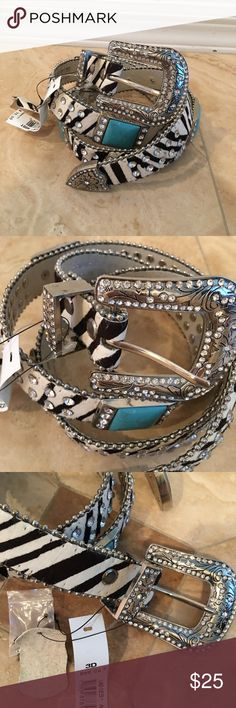 """New 3D Belt Co Western Leather Turquoise crystals New with Tags 3D Belt Co Western Style Leather Belt in Zebra  print cow hide Jeweled in clear crystals and Turquoise silver trim . New never worn $70 . Size M/L measures from buckle to first hole 38.5"""" and last 34.5"""" . 1"""" wide belt and buckle is 2.5"""" 3D Belt Co Accessories Belts"""
