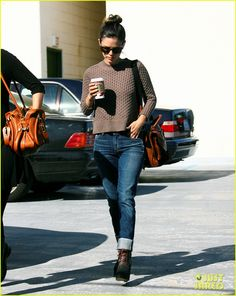 Uniform 4. Cropped sweater, perfect denim, booties, bun & Starbucks.