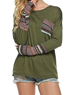 646fd081 POGT Women Long Sleeve O-Neck Patchwork Casual Loose T-shirt Blouse Tops (