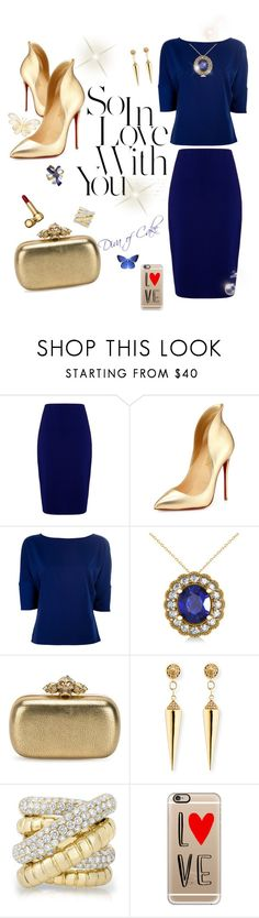 Blue & Gold outfit by Diva of Cake featuring mode, Versace, Winser London, Christian Louboutin, Alexander McQueen, Sydney Evan, Allurez and Casetify