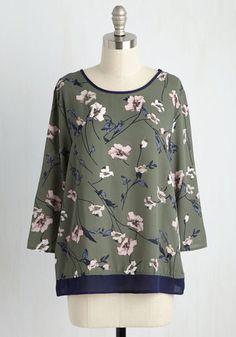 What a Pleasant Surplice Floral Top | Mod Retro Vintage Short Sleeve Shirts | ModCloth.com