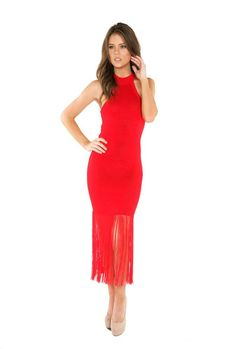 0737c73f147 Naughty Grl Sexy Halter Maxi Dress With Fringe - Red