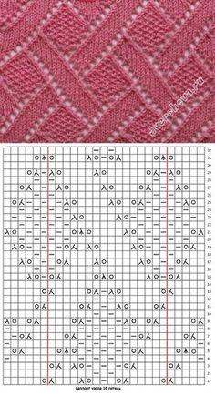free knitting stitch pattern, chart only, no key b. Lace Knitting Stitches, Lace Knitting Patterns, Knitting Charts, Loom Patterns, Loom Knitting, Free Knitting, Stitch Patterns, Knitting Machine, Loom Bands