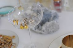 champagne coupe to hold earrings