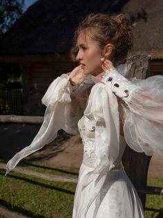 Wonderful details from Rara Avis Collection Natural linen and silk in wedding dresses by Rara Avis Group. Floaty Wedding Dress, Sweet Wedding Dresses, Boho Chic Wedding Dress, Wedding Dress Train, Perfect Wedding Dress, Chiffon Skirt, Princess Wedding, Bridal Gowns, Beautiful Dresses