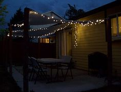 Shade cloth cover for a patio - want to remember this idea (I think I'd shape it differently though) as well as I really like the ties she included to add Christmas lights - tutorial by Running With Scissors - #patio #deck #DIY tå√