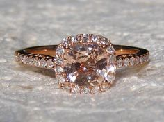 Untreated Peach Pink Sapphire in Rose Gold Diamond Halo Engagement Ring, by JuliaBJewelry