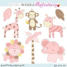 Pink Baby Pastel Safari Cute Digital Clipart  por JWIllustrations