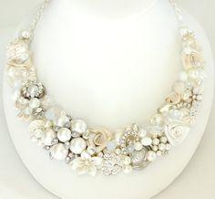 Bridal Bib Necklace Pearl Bridal Jewelry Bridal by BrassBoheme, $135.00