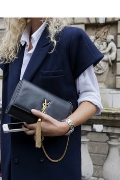 The Short Sleeve Coat (and YSL clutch purse) www.inezdaily.com
