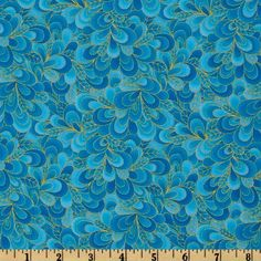 Timeless Treasures Shimmer Petals Gold/Turquoise from From Timeless Treasures this cotton print fabric is perfect for quilts, home décor accents, craft projects and apparel. Colors include metallic gold on a turquoise background. Peacock Fabric, Timeless Treasures Fabric, Turquoise Background, Quilt Material, Accent Decor, Printing On Fabric, Craft Projects, Floral, Robert Kaufman