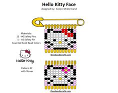 hellokitty.gif 720×568 pixels Safety Pin Art, Safety Pin Crafts, Safety Pin Jewelry, Safety Pin Earrings, Safety Pins, Bead Jewelry, Jewellery, Pony Bead Patterns, Perler Patterns
