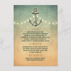 Rustic Nautical Anchor and Lights Wedding Details Enclosure Card Wedding Rustic Bridal Shower Invitations, Lace Wedding Invitations, Bridal Shower Rustic, Zazzle Invitations, Wedding Cards, Nautical Wedding Theme, Wedding Colors, Rustic Wedding Details, Nautical Anchor