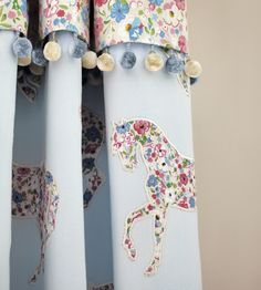 Pretty Ponies Fabric from Sanderson Abracazoo Collection. A charming applique curtain fabric featuring silhouettes of prancing ponies inlaid with the sky blue and pink Posy Floral fabric, stitched onto a powder blue ground. Sanderson Fabric, Curtain Patterns, Curtain Designs, Floral Fabric, Floral Prints, Childrens Curtains, Chintz Fabric, Pretty Bedroom, Child Room