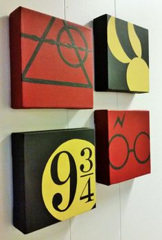 Set of 4 minimalist Harry Potter hand painted acrylic on 6x6 canvas. String on back for wall hanging. 4 paintings contain the Deathly Hollows,