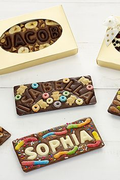 100 Cheap Gifts That Aren't, You Know, Cheap Customize each bar with their name and favorite candies for a best-in-class stocking stuffer treat. Top This Chocolate B. Homemade Chocolate Bars, Chocolate Diy, Custom Chocolate, Chocolate Bomb, How To Make Chocolate, Chocolate Names, Chocolate Wrapping, Candy Recipes, Dessert Recipes
