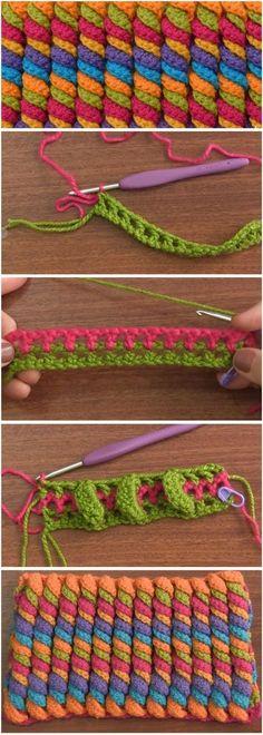 3D Serpentine Stitch Crochet Tutorial değişik tığ işi örgü örneği