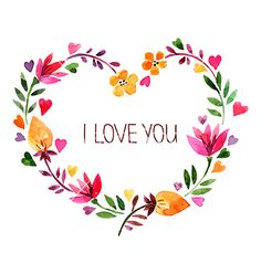 Love card with watercolor floral bouquet vector - by pimonova on VectorStock®