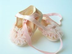 1950's Sweet Pink Ballerina Baby Shoes