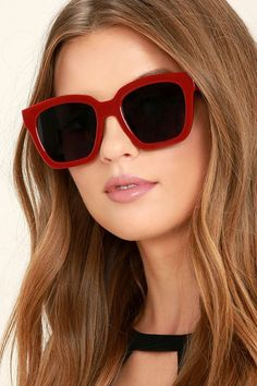 It's hip to be square when you're wearing the Perverse Ace Burgundy Sunglasses! Chunky square frames have a glossy finish. Black gradient lenses. UV 400.