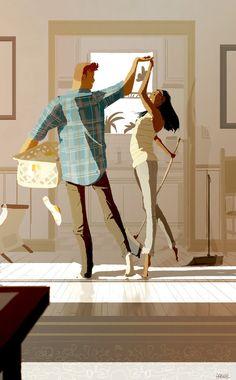Un artista capta la belleza del amor en ilustraciones de su vida con su mujer