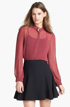 Halogen® Ruffle Collar Chiffon Blouse (Regular & Petite) available at #Nordstrom